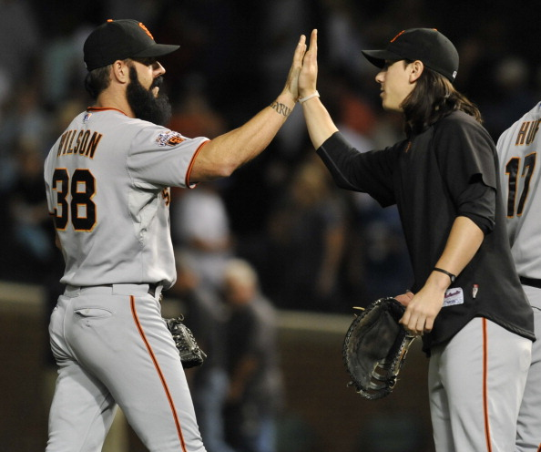 CHICAGO, IL - JUNE 28:  Brian Wilson #38 of the San Francisco Giants is greeted by Tim Lincecum #55 after the Chicago Cubs during the second game of a doubleheader  on June 28, 2011 at Wrigley Field in Chicago, Illinois. The Giants defeated the the Cubs 6-3.  (Photo by David Banks/Getty Images)