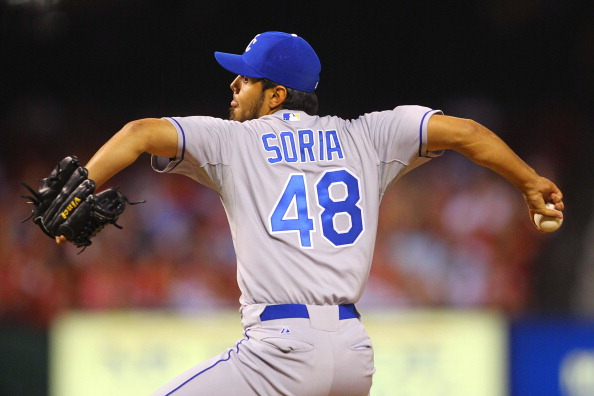 ST. LOUIS, MO - JUNE 17: Reliever Joakim Soria #48 of the Kansas City Royals pitches against the St. Louis Cardinals at Busch Stadium on June 17, 2011 in St. Louis, Missouri.  (Photo by Dilip Vishwanat/Getty Images)