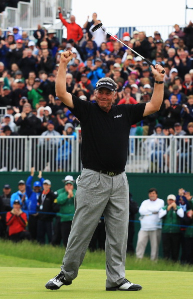 SANDWICH, ENGLAND - JULY 17:  Darren Clarke of Northern Ireland celebrates victory on the 18th green during the final round of The 140th Open Championship at Royal St George's on July 17, 2011 in Sandwich, England.  (Photo by Streeter Lecka/Getty Images)