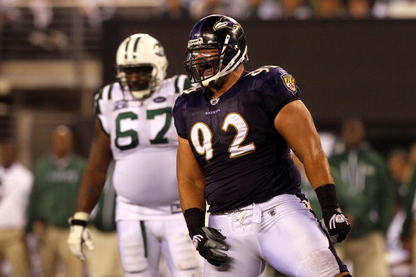 EAST RUTHERFORD, NJ - SEPTEMBER 13:  Haloti Ngata #92 of the Baltimore Ravens celebrates after a play against the New York Jets during their Jets home opener at the New Meadowlands Stadium on September 13, 2010 in East Rutherford, New Jersey.  (Photo by Jim McIsaac/Getty Images)