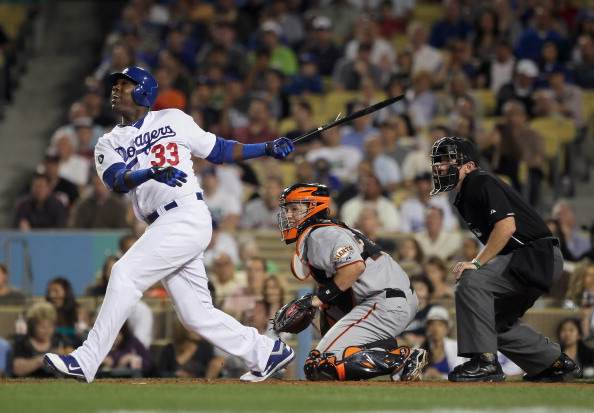 LOS ANGELES, CA - APRIL 01:  Marcus Thames #33 of the Los Angeles Dodgers bats against the San Francisco Giants at Dodger Stadium on April 1, 2011 in Los Angeles, California.  (Photo by Jeff Gross/Getty Images)