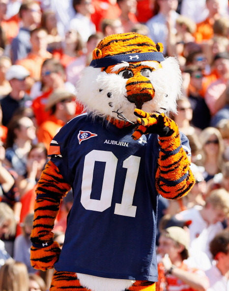 AUBURN, AL - OCTOBER 23:  Aubie, masot of the Auburn Tigers, against the LSU Tigers at Jordan-Hare Stadium on October 23, 2010 in Auburn, Alabama.  (Photo by Kevin C. Cox/Getty Images)