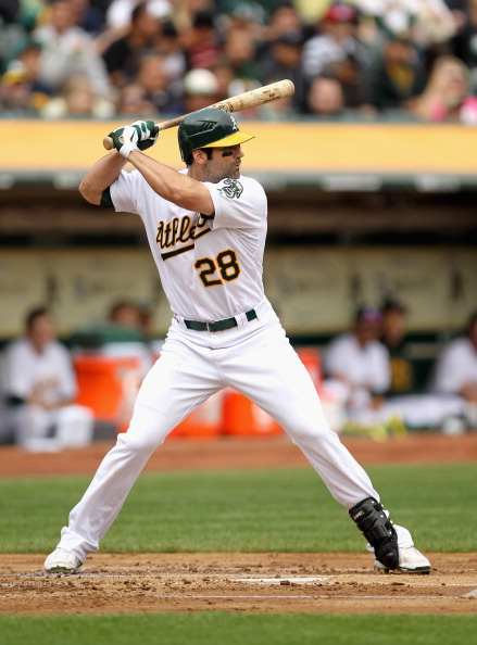 OAKLAND, CA - APRIL 17:  Conor Jackson #28 of the Oakland Athletics in action against the Detroit Tigers at Oakland-Alameda County Coliseum on April 17, 2011 in Oakland, California.  (Photo by Ezra Shaw/Getty Images)