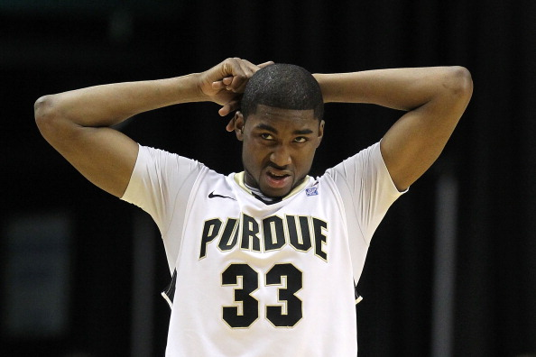 INDIANAPOLIS, IN - MARCH 11:  E'Twaun Moore #33 of the Purdue Boilermakers looks on dejected against the Michigan State Spartans during the quarterfinals of the 2011 Big Ten Men's Basketball Tournament at Conseco Fieldhouse on March 11, 2011 in Indianapolis, Indiana.  (Photo by Andy Lyons/Getty Images)