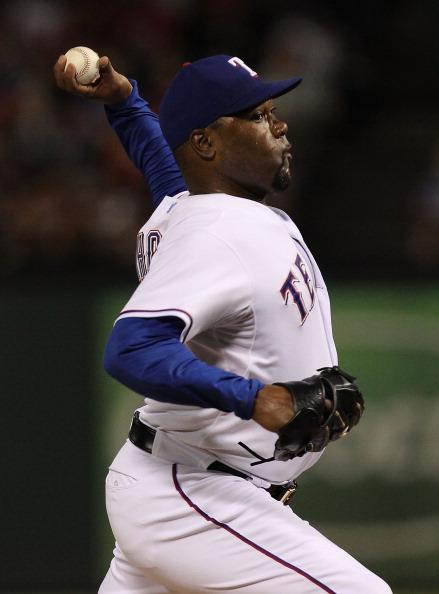 ARLINGTON, TX - JULY 22:  Arthur Rhodes #53 of the Texas Rangers at Rangers Ballpark in Arlington on July 22, 2011 in Arlington, Texas.  (Photo by Ronald Martinez/Getty Images)