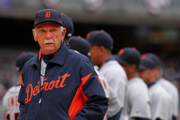 NEW YORK, NY - MARCH 31:  Jim Leyland, Manager of the Detroit Tigers looks on before playing the New York Yankees on Opening Day at Yankee Stadium on March 31, 2011 in New York City. The Yankees won 6-3 in the ninth inning.  (Photo by Nick Laham/Getty Images)