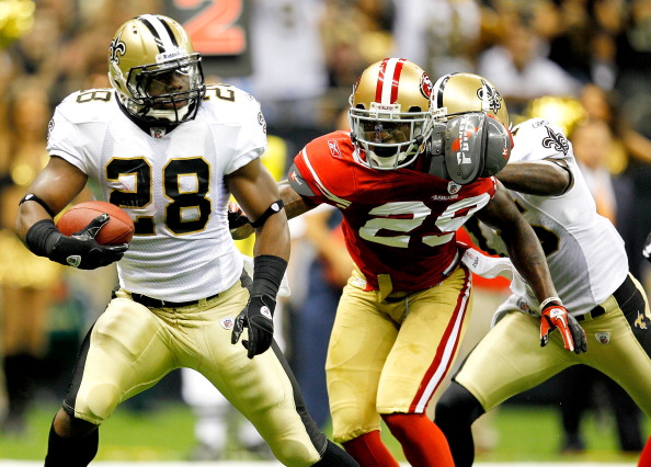 NEW ORLEANS, LA - AUGUST 12: Mark Ingram # 28 of the New Orleans Saints runs into the end zone for a touchdown against the San Francisco 49ers during their pre season game at Louisiana Superdome on August 12, 2011 in New Orleans, Louisiana.  (Photo by Sean Gardner/Getty Images)