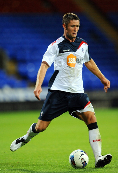 BOLTON, UNITED KINGDOM - AUGUST 05: Gary Cahill of Bolton in action during the pre season friendly match between Bolton Wanderers and Levante at the Reebok Stadium on August 05, 2011 in Bolton, England. (Photo by Clint Hughes/Getty Images)