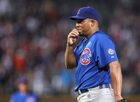 ATLANTA, GA - AUGUST 12:  Pitcher Carlos Zambrano #38 of the Chicago Cubs reacts after throwing a pitch that got him ejected from the game against the Atlanta Braves at Turner Field on August 12, 2011 in Atlanta, Georgia.  (Photo by Mike Zarrilli/Getty Images)