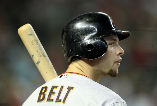PHOENIX, AZ - APRIL 17:  Brandon Belt #9 of the San Francisco Giants at bat during the Major League Baseball game against the Arizona Diamondbacks at Chase Field on April 17, 2011 in Phoenix, Arizona. The Diamondbacks defeated the Giants 6-5 in the twelfth inning  (Photo by Christian Petersen/Getty Images)