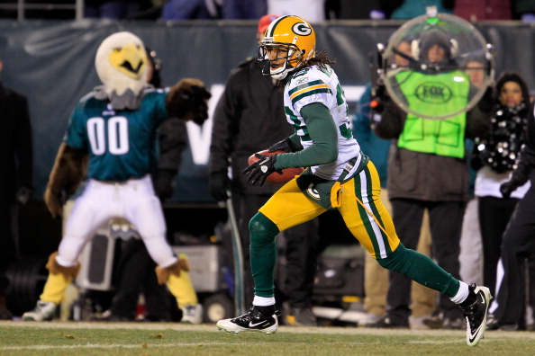 PHILADELPHIA, PA - JANUARY 09:  Tramon Williams #38 of the Green Bay Packers runs down field against the Philadelphia Eagles during the 2011 NFC wild card playoff game at Lincoln Financial Field on January 9, 2011 in Philadelphia, Pennsylvania.  (Photo by Chris Trotman/Getty Images)