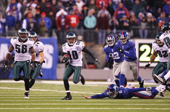 EAST RUTHERFORD, NJ - DECEMBER 19:  DeSean Jackson #10 of the Philadelphia Eagles eludes Matt Dodge #6 of the New York Giants and returns a punt for the winning touchdown as time runs out defeating the Giants 38-31 during their game on December 19, 2010 at The New Meadowlands Stadium in East Rutherford, New Jersey.  (Photo by Al Bello/Getty Images)
