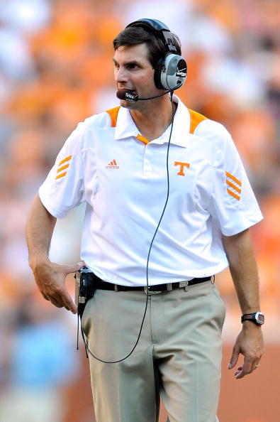 KNOXVILLE, TN - SEPTEMBER 18:  Coach Derek Dooley of the Tennessee Volunteers watches his team in action against the Florida Gators  at Neyland Stadium on September 18, 2010 in Knoxville, Tennessee. Florida won 31-17.  (Photo by Grant Halverson/Getty Images)