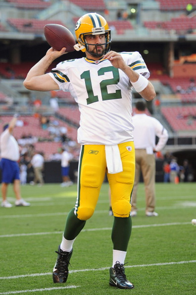 CLEVELAND, OH - AUGUST 13: Starting quarterback Aaron Rodgers #12 of the Green Bay Packers warms up prior to the game between the Cleveland Browns and the Green Bay Packers at Cleveland Browns Stadium on August 13, 2011 in Cleveland, Ohio. (Photo by Jason Miller/Getty Images)