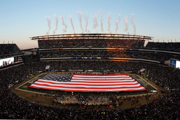 PHILADELPHIA, PA - JANUARY 09:  The color guard presents a full field flag for the national anthem before the game between the Green Bay Packers and the Philadelphia Eagles in the 2011 NFC wild card playoff game at Lincoln Financial Field on January 9, 2011 in Philadelphia, Pennsylvania.  (Photo by Michael Heiman/Getty Images)