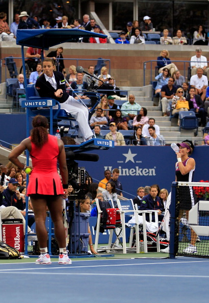 NEW YORK, NY - SEPTEMBER 11:  Serena Williams of the United States questions the call of chair umpire Eva Asderakia while playing against Samantha Stosur of Australia during the Women's Singles Final on Day Fourteen of the 2011 US Open at the USTA Billie Jean King National Tennis Center on September 11, 2011 in the Flushing neighborhood of the Queens borough of New York City.  (Photo by Chris Trotman/Getty Images)