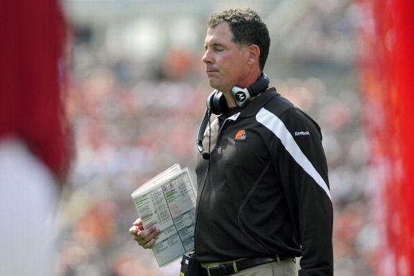 CLEVELAND, OH - SEPTEMBER 11: Head coach Pat Shurmur of the Cleveland Browns reacts to an officials call against the Browns during the first quarter against the Cincinnati Bengals at Cleveland Browns Stadium during a season opener on September 11, 2011 in Cleveland, Ohio. The Bengals defeated the Browns 27-17. (Photo by Jason Miller/Getty Images)