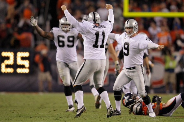 DENVER, CO - SEPTEMBER 12:  Place kicker  Sebastian Janikowski #11 of the Oakland Raiders celebrates his 63 yard field goal with five seconds remaining in the first half with teammates Khalif Barnes #69 of the Raiders and Shane Lechler #9 of the Raiders to give the Raiders a 16-3 lead over the Denver Broncos at Sports Authority Field at Mile High on September 12, 2011 in Denver, Colorado. Janikowski's kick of 63 yards tied the NFL field goal record.  (Photo by Doug Pensinger/Getty Images)