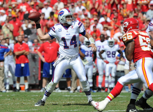 KANSAS CITY, MO - SEPTEMBER 11:  Quarterback Ryan Fitzpatrick #14 of the Buffalo Bills drops back to pass against the Kansas City Chiefs during the second quarter on September 11, 2011 at Arrowhead Stadium in Kansas City, Missouri.  The Bills beat the Chiefs 41-7.(Photo by Peter Aiken/Getty Images)