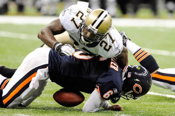 NEW ORLEANS, LA - SEPTEMBER 18:  Malcolm Jenkins #27 of the New Orleans Saints sacks Jay Cutler #6 of the Chicago Bears at the Louisiana Superdome on September 18, 2011 in New Orleans, Louisiana.  The Saints defeated the Bears 30-13.  (Photo by Stacy Revere/Getty Images)