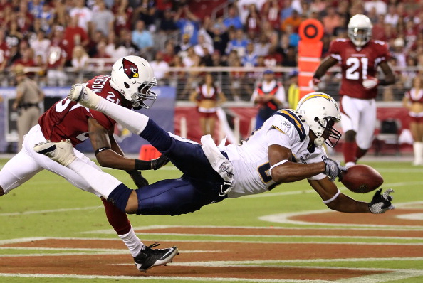 GLENDALE, AZ - AUGUST 27:  Wide receiver Malcom Floyd #80 of the San Diego Chargers is unable to catch a reception in the endzone pressured by cornerback A.J. Jefferson #20 of the Arizona Cardinals during the preseason NFL game at the University of Phoenix Stadium on August 27, 2011 in Glendale, Arizona.   The Chargers defeated the Cardinals 34-31. (Photo by Christian Petersen/Getty Images)
