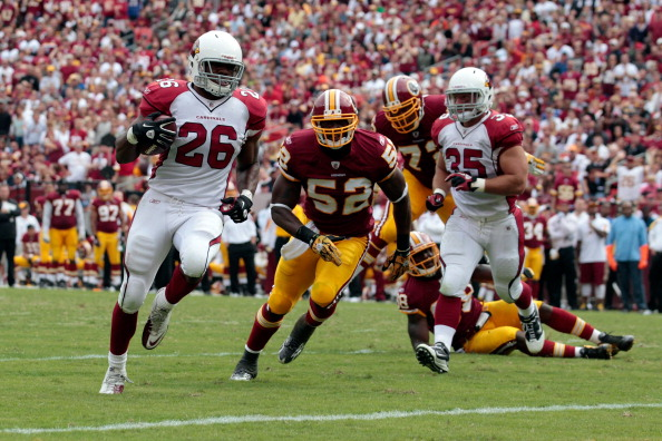 LANDOVER, MD - SEPTEMBER 18: Running back  Beanie Wells #26 of the Arizona Cardinals rushes for a touchdown in front of defender  Rocky McIntosh #52 of the Washington Redskins during the second half at FedExField on September 18, 2011 in Landover, Maryland. Washington defeated the Arizona 22-21.  (Photo by Rob Carr/Getty Images)
