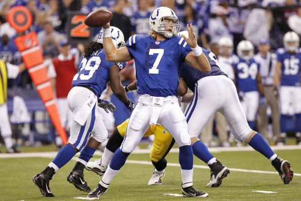 INDIANAPOLIS, IN - SEPTEMBER 25: Curtis Painter #7 of the Indianapolis Colts looks to pass against the Pittsburgh Steelers at Lucas Oil Stadium on September 25, 2011 in Indianapolis, Indiana. The Steelers won 23-20. (Photo by Joe Robbins/Getty Images)