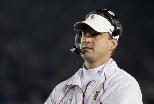 PASADENA, CA - DECEMBER 04:  USC Trojans head coach Lane Kiffin looks on against the UCLA Bruins at the Rose Bowl on December 4, 2010 in Pasadena, California.  (Photo by Jeff Gross/Getty Images)