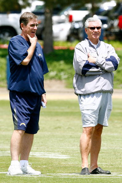 SAN DIEGO - MAY 03: Head coach Norv Turner and general manager A.J. Smith of the San Diego Chargers watch practice during minicamp at the Chargers training facility on May 3, 2009 in San Diego, California. (Photo by Kevin Terrell/Getty Images)