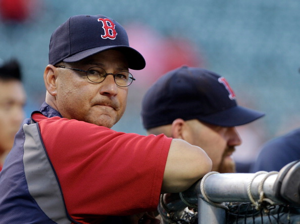 BALTIMORE, MD - APRIL 26: Manager Terry Francona #47 of the Boston Red Sox watches as his team take batting practice before the start of a game against the Baltimore Orioles at Oriole Park at Camden Yards on April 26, 2011 in Baltimore, Maryland.  (Photo by Rob Carr/Getty Images)