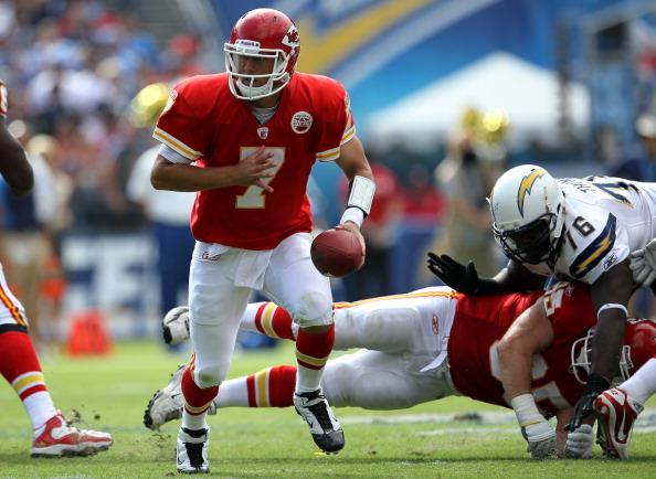 SAN DIEGO, CA - SEPTEMBER 25:  Quarterback Matt Cassel #7 of the Kansas City Chiefs hands off against the San Diego Chargers at Qualcomm Stadium on September 25, 2011 in San Diego, California.    The Chargers won 20-17.  (Photo by Stephen Dunn/Getty Images)
