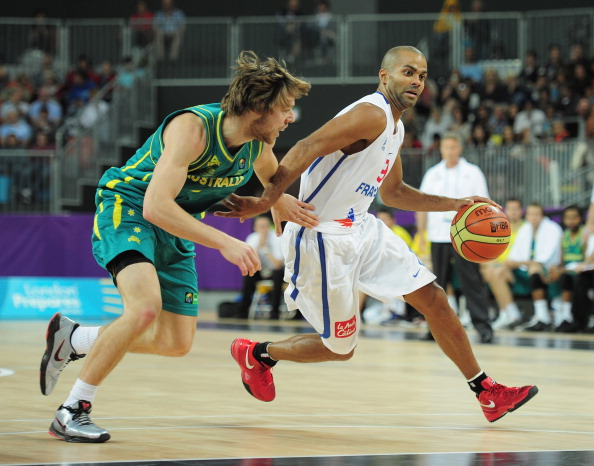 LONDON, ENGLAND - AUGUST 17:  Tony Parker of France is challenged by Matthew Dellavedova of Australia during the London Prepares Series match between France and Australia at the Basketball Arena on August 17, 2011 in London, England.  (Photo by Shaun Botterill/Getty Images)