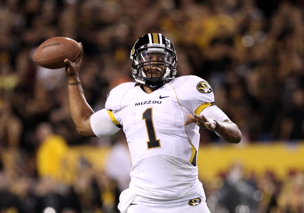 TEMPE, AZ - SEPTEMBER 09:  Quarterback James Franklin #1 of the Missouri Tigers throws a pass during the college football game against the Arizona State Sun Devils at Sun Devil Stadium on September 9, 2011 in Tempe, Arizona. The Sun Devils defeated the Tigers 37-30 in overtime.  (Photo by Christian Petersen/Getty Images)