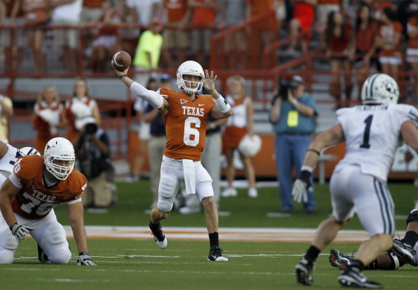 AUSTIN, TX - SEPTEMBER 10:  Backup quarterback Case McCoy #6 of the Texas Longhorns passes against the BYU Cougars on September 10, 2011 at Darrell K. Royal-Texas Memorial Stadium in Austin, Texas.  Texas defeated BYU 17-16.  (Photo by Erich Schlegel/Getty Images)