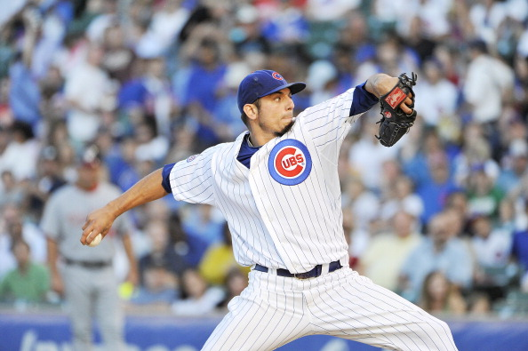 CHICAGO, IL - AUGUST 09:  Starting pitcher Matt Garza #17 of the Chicago Cubs delivers during the first inning against the Washington Nationals at Wrigley Field on August 9, 2011 in Chicago, Illinois.  (Photo by Brian Kersey/Getty Images)
