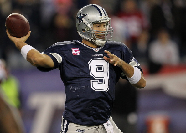 FOXBORO, MA - OCTOBER 16:  Tony Romo #9 of the Dallas Cowboys prepares to throw against the New England Patriots in the second half at Gillette Stadium on October 16, 2011 in Foxboro, Massachusetts. (Photo by Jim Rogash/Getty Images)