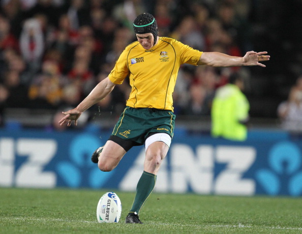 AUCKLAND, NEW ZEALAND - OCTOBER 21:  Berrick Barnes of Australia kicks the ball during the 2011 IRB Rugby World Cup bronze final match between Wales and Australia at Eden Park on October 21, 2011 in Auckland, New Zealand.  . (Photo by Steve Haag / Gallo Images/Getty Images)
