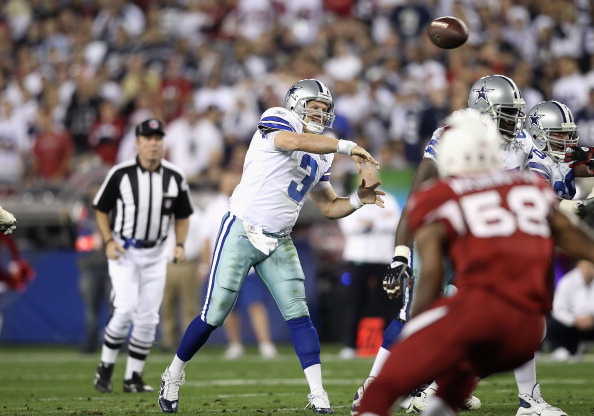 GLENDALE, AZ - DECEMBER 25:  Quarterback Jon Kitna #3 of the Dallas Cowboys throws a pass during the NFL game against the Arizona Cardinals at the University of Phoenix Stadium on December 25, 2010 in Glendale, Arizona.  The Cardinals defeated the Cowboys 27-26.  (Photo by Christian Petersen/Getty Images)