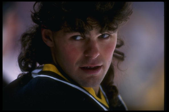 13 Dec 1995: Rightwinger Jaromir Jagr of the Pittsburgh Penguins looks on during a game against the Anaheim Mighty Ducks at Arrowhead Pond in Anaheim, California. The Ducks won the game, 6-3.