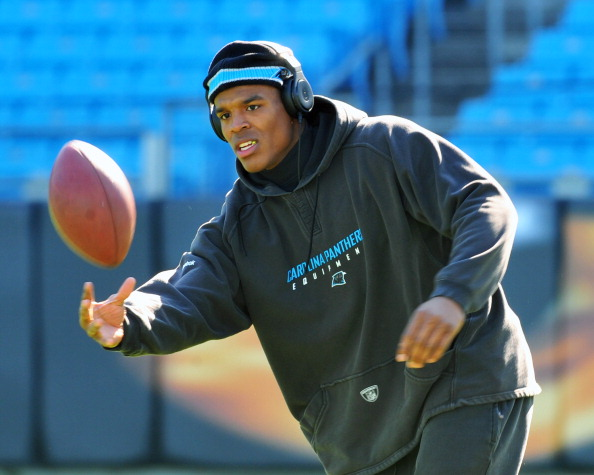 CHARLOTTE, NC - OCTOBER 30:  Quarterback Cam Newton #1 of  the Carolina Panthers warms up for play against the Minnesota Vikings October 30, 2011 at Bank of America Stadium in Charlotte, North Carolina.  (Photo by Al Messerschmidt/Getty Images)