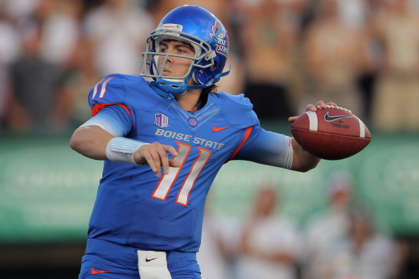 FORT COLLINS, CO - OCTOBER 15:  Quarterback Kellen Moore #11 of the Boise State Broncos delivers a pass against the Colorado State Rams at Sonny Lubick Field at Hughes Stadium on October 15, 2011 in Fort Collins, Colorado.  (Photo by Doug Pensinger/Getty Images)