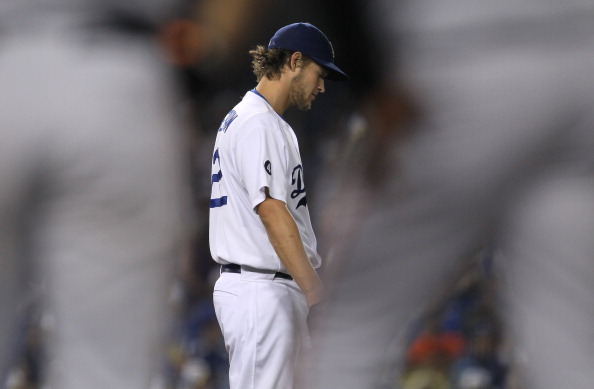 LOS ANGELES, CA - SEPTEMBER 20:  Starting pitcher Clayton Kershaw #22 of the Los Angeles Dodgers reacts as he is being relieved in the eighth inning in the game against the San Francisco Giants on September 20, 2011 at Dodger Stadium in Los Angeles, California.  (Photo by Stephen Dunn/Getty Images)