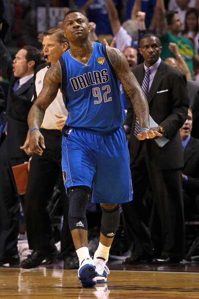 MIAMI, FL - JUNE 12:  DeShawn Stevenson #92 of the Dallas Mavericks celebrates after he made a 3-point shot in the first half against the Dallas Mavericks in Game Six of the 2011 NBA Finals at American Airlines Arena on June 12, 2011 in Miami, Florida. NOTE TO USER: User expressly acknowledges and agrees that, by downloading and/or using this Photograph, user is consenting to the terms and conditions of the Getty Images License Agreement.  (Photo by Mike Ehrmann/Getty Images)