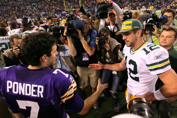 MINNEAPOLIS, MN - OCTOBER 23:   Christian Ponder #7 of the Minnesota Vikings shakes hands after the game with Aaron Rodgers #12 of the Green Bay Packers at the Hubert H. Humphrey Metrodome on October 23, 2011 in Minneapolis, Minnesota.  (Photo by Adam Bettcher /Getty Images)