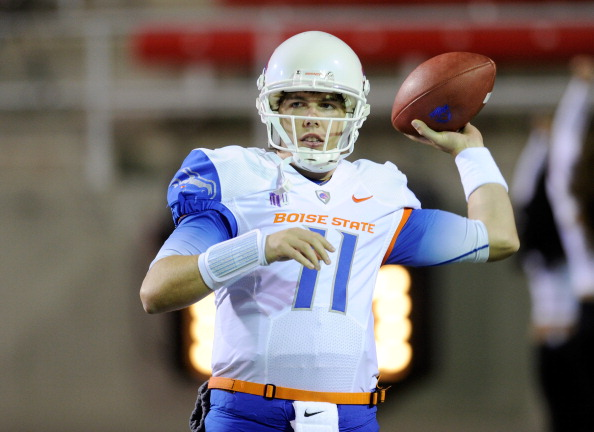LAS VEGAS, NV - NOVEMBER 05:  Quarterback Kellen Moore #11 of the Boise State Broncos warms up before a game against the UNLV Rebels at Sam Boyd Stadium November 5, 2011 in Las Vegas, Nevada. The Broncos won 48-21 giving Moore his 46th victory and making him the winningest quarterback in NCAA history.  (Photo by Ethan Miller/Getty Images)