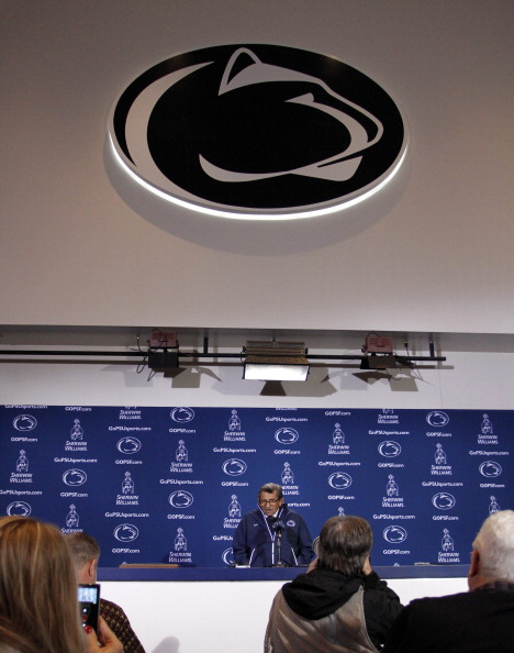 STATE COLLEGE, PA - OCTOBER 29:  Joe Paterno addresses the media after the game against the Illinois Fighting Illini on October 29, 2011 at Beaver Stadium in State College, Pennsylvania.  The Nittany Lions defeated the Fighting Illini 10-7.  (Photo by Justin K. Aller/Getty Images)