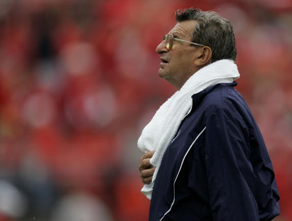 COLUMBUS, OH - SEPTEMBER 23: Head coach Joe Paterno of the Penn State Nittany Lions looks at the scoreboard while leaving the field, for reported flu like symptoms, in the beginning of the third quarter on September 23, 2006 at Ohio Stadium in Columbus, Ohio. Ohio State won the game 28-6.  (Photo By Gregory Shamus/Getty Images)