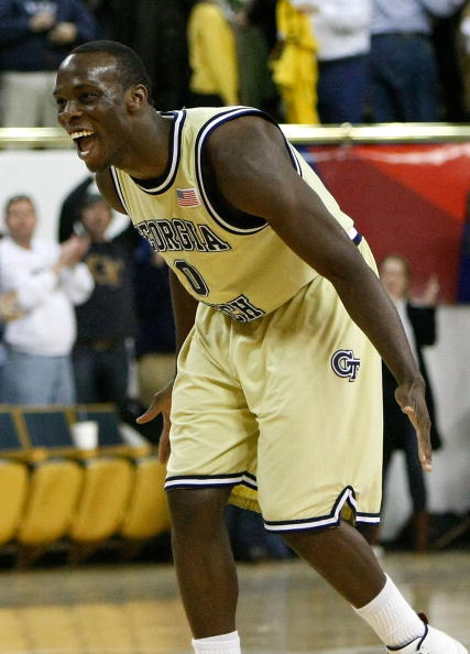 ATLANTA - JANUARY 09:  Mfon Udofia #0 of the Georgia Tech Yellow Jackets celebrates in the final seconds of their 71-67 win over the Duke Blue Devils at Alexander Memorial Coliseum on January 9, 2010 in Atlanta, Georgia.  (Photo by Kevin C. Cox/Getty Images)