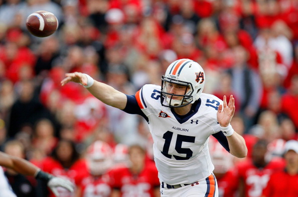 ATHENS, GA - NOVEMBER 12:  Clint Moseley #15 of the Auburn Tigers passes against the Georgia Bulldogs at Sanford Stadium on November 12, 2011 in Athens, Georgia.  (Photo by Kevin C. Cox/Getty Images)