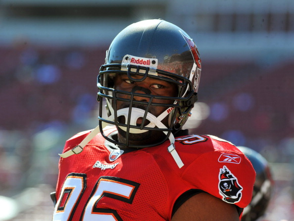 TAMPA, FL - NOVEMBER 13:  Defensive tackle Albert Haynesworth #95 of the Tampa Bay Buccaneers sets for play against the Houston Texans November 13, 2011 at Raymond James Stadium in Tampa, Florida. (Photo by Al Messerschmidt/Getty Images)